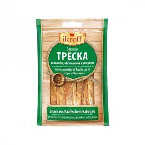 Рыба Треска сушено-солёная с кунжутом 36г ➤ купить в Европе, более 500 товаров ➤ покупайте в RuskeDelicije.eu ➤ доставка по Европе