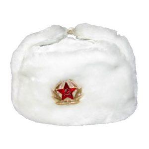 """Šubara ruska """"Ušanka"""" s kokardom bijela"""