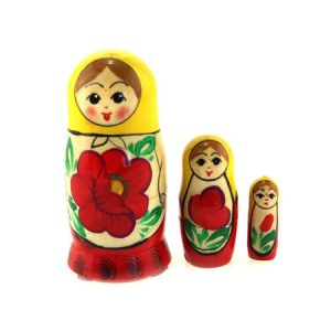 Babuška 3 u 1 mala žuto-crvena