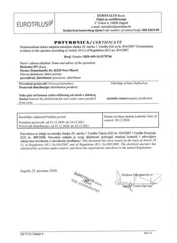 EU certificate Biokedar